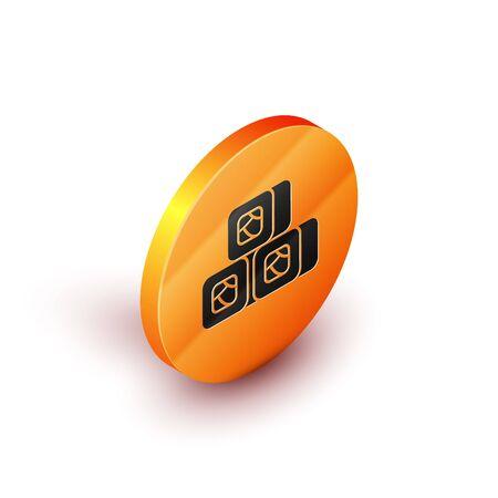 Isometric Sushi icon isolated on white background. Traditional Japanese food. Orange circle button. Vector Illustration Ilustracja