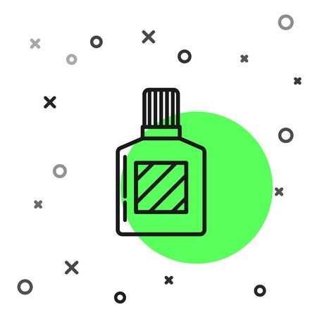 Black line Aftershave icon isolated on white background. Cologne spray icon. Male perfume bottle. Vector Illustration