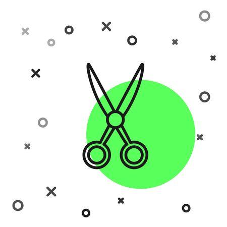 Black line Scissors hairdresser icon isolated on white background. Hairdresser, fashion salon and barber sign. Barbershop symbol. Vector Illustration
