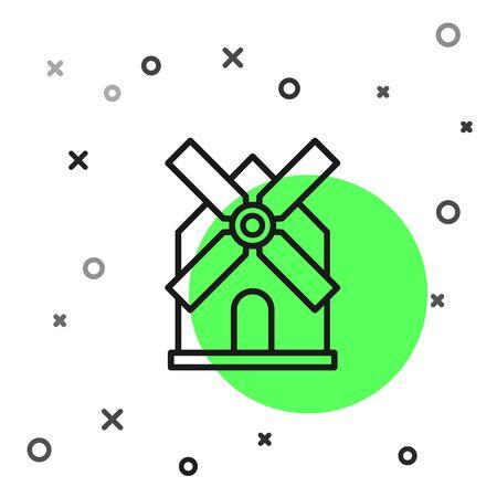 Black line Windmill icon isolated on white background. Vector Illustration Illusztráció