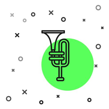 Black line Musical instrument trumpet icon isolated on white background. Vector Illustration