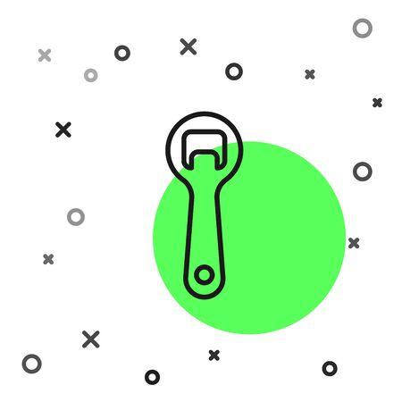 Black line Bottle opener icon isolated on white background. Vector Illustration
