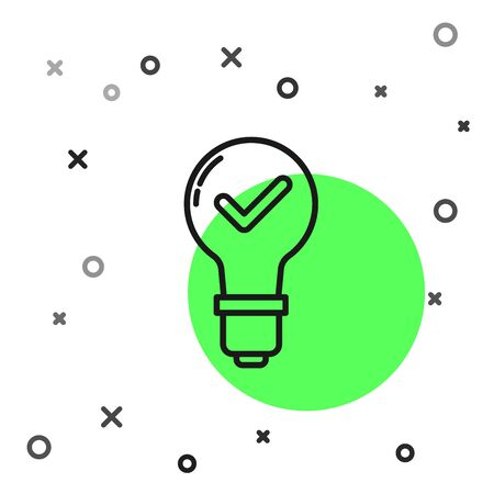 Black line Light bulb and check mark icon isolated on white background. Concept of idea. Vector Illustration Illusztráció