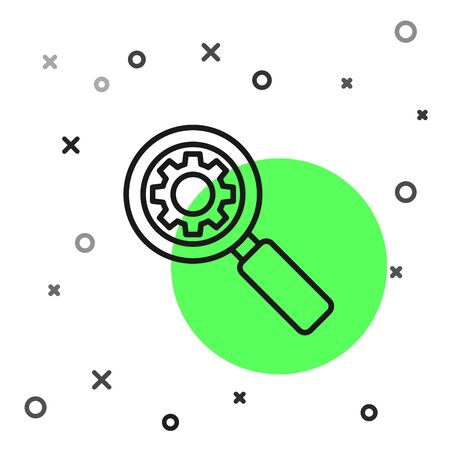 Black line Magnifying glass and gear icon isolated on white background. Search gear tool. Business analysis symbol. Vector Illustration