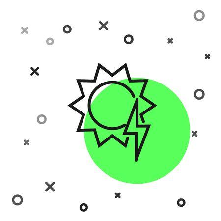 Black line Solar energy panel icon isolated on white background. Sun with lightning symbol. Vector Illustration Illusztráció