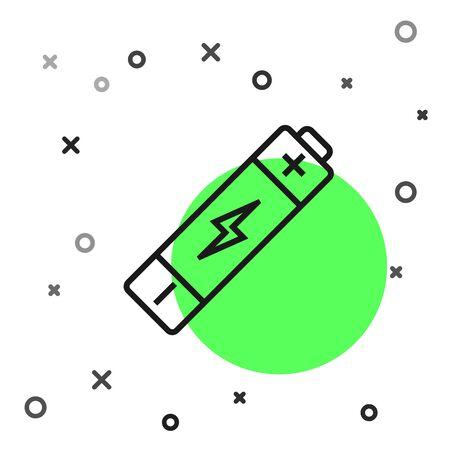 Black line Battery icon isolated on white background. Lightning bolt symbol. Vector Illustration