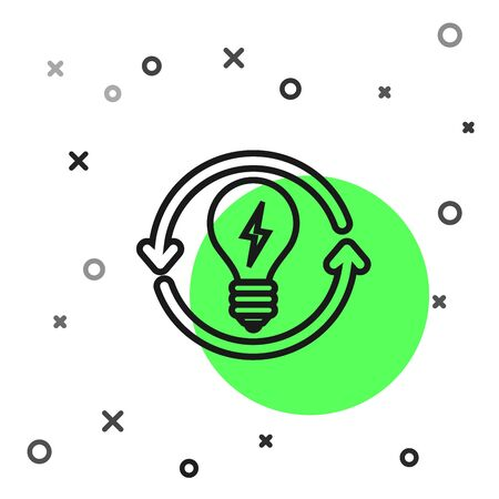 Black line Recycle and light bulb with lightning symbol icon isolated on white background. Light lamp sign. Idea symbol. Vector Illustration
