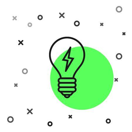 Black line Light bulb with lightning symbol icon isolated on white background. Light lamp sign. Idea symbol. Vector Illustration