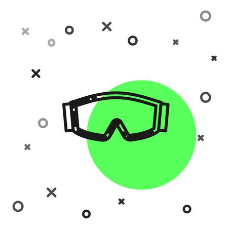 Black line Ski goggles icon isolated on white background. Extreme sport. Sport equipment. Vector Illustration