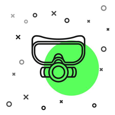 Black line Diving mask icon isolated on white background. Extreme sport. Sport equipment. Vector Illustration Ilustracja
