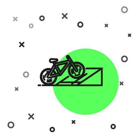 Black line Bicycle on street ramp icon isolated on white background. Skate park. Extreme sport. Sport equipment. Vector Illustration Иллюстрация