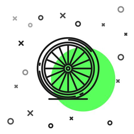 Black line Bicycle wheel icon isolated on white background. Bike race. Extreme sport. Sport equipment. Vector Illustration  イラスト・ベクター素材
