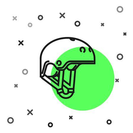 Black line Helmet icon isolated on white background. Extreme sport. Sport equipment. Vector Illustration  イラスト・ベクター素材