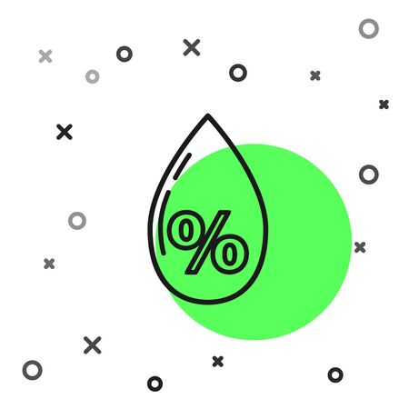 Black line Water drop percentage icon isolated on white background. Humidity analysis. Vector Illustration