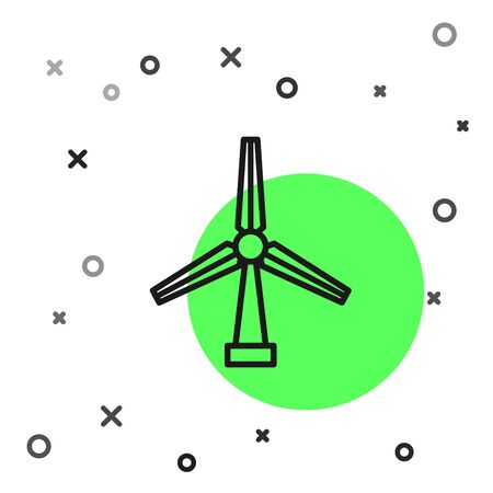 Black line Wind turbine icon isolated on white background. Wind generator sign. Windmill silhouette. Windmill for electric power production. Vector Illustration