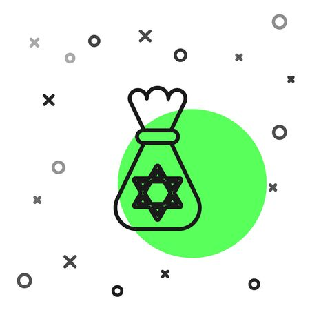 Black line Jewish money bag with star of david icon isolated on white background. Currency symbol. Vector Illustration