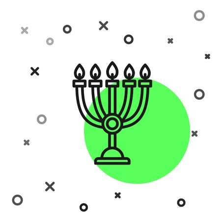 Black line Hanukkah menorah icon isolated on white background. Hanukkah traditional symbol. Holiday religion, jewish festival of Lights. Vector Illustration