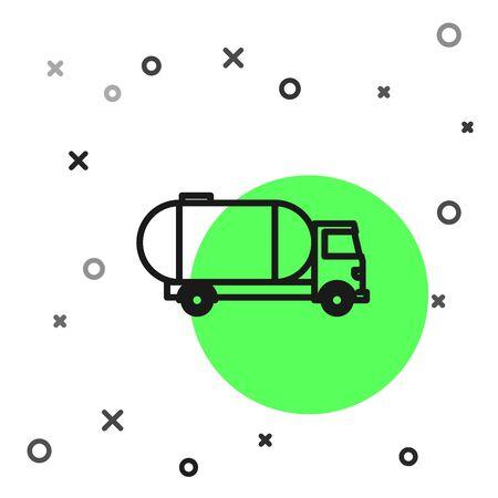 Black line Tanker truck icon isolated on white background. Petroleum tanker, petrol truck, cistern, oil trailer.  Vector Illustration