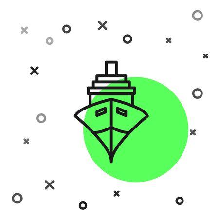 Black line Cargo ship icon isolated on white background.  Vector Illustration