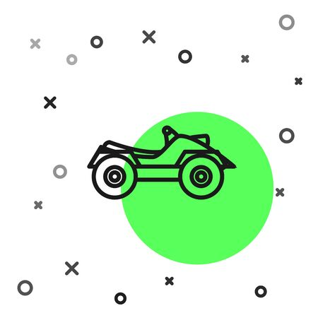 Black line All Terrain Vehicle or ATV motorcycle icon isolated on white background. Quad bike. Extreme sport.  Vector Illustration