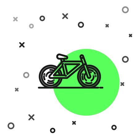Black line Bicycle icon isolated on white background. Bike race. Extreme sport. Sport equipment.  Vector Illustration