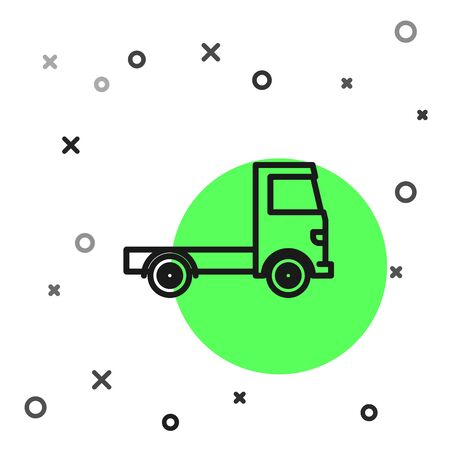 Black line Delivery cargo truck vehicle icon isolated on white background.  Vector Illustration