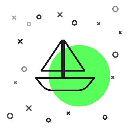 Black line Yacht sailboat or sailing ship icon isolated on white background. Sail boat marine cruise travel.  Vector Illustration