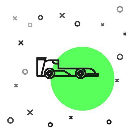 Black line Formula race car icon isolated on white background.  Vector Illustration Foto de archivo - 134800973