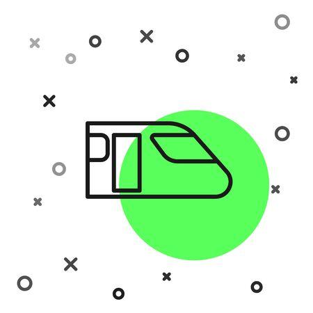Black line Train icon isolated on white background. Public transportation symbol. Subway train transport. Metro underground.  Vector Illustration
