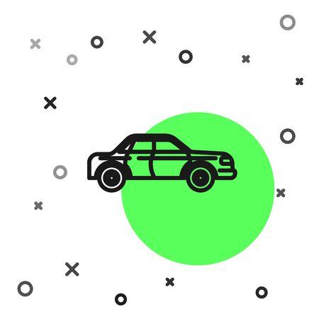 Black line Sedan car icon isolated on white background.  Vector Illustration Foto de archivo - 134800765