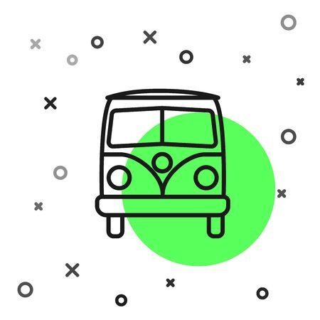 Schwarze Linie Retro Minivan-Symbol isoliert auf weißem Hintergrund. Alter Retro-klassischer Reisewagen. Vektorillustration