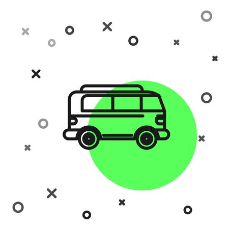 Black line Retro minivan icon isolated on white background. Old retro classic traveling van.  Vector Illustration Illustration