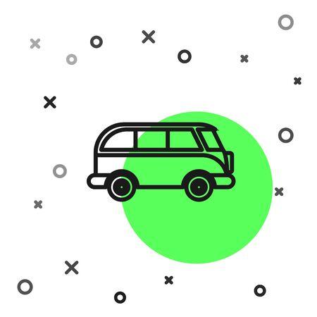 Black line Retro minivan icon isolated on white background. Old retro classic traveling van.  Vector Illustration Foto de archivo - 134800834
