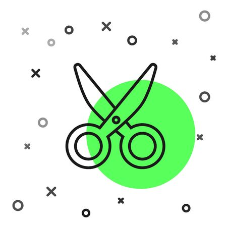 Black line Scissors icon isolated on white background. Cutting tool sign. Vector Illustration