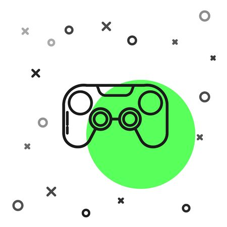 Black line Gamepad icon isolated on white background. Game controller.  Vector Illustration