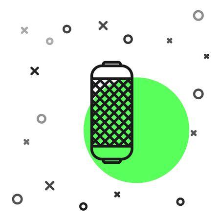 Black line Stereo speaker icon isolated on white background. Sound system speakers. Music icon. Musical column speaker bass equipment.  Vector Illustration