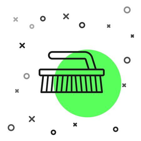 Black line Brush for cleaning icon isolated on white background. Vector Illustration Ilustrace