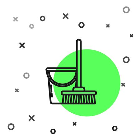 Black line Mop and bucket icon isolated on white background. Cleaning service concept. Vector Illustration