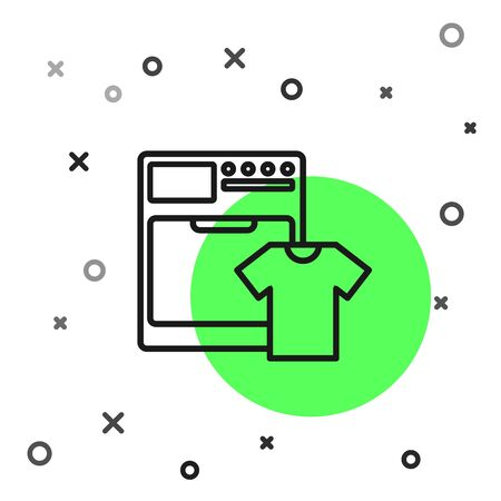 Black line Washer and t-shirt icon isolated on white background. Washing machine icon. Clothes washer - laundry machine. Home appliance symbol. Vector Illustration Ilustração