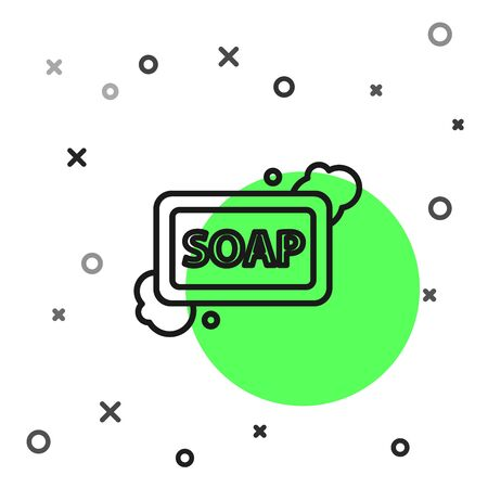 Black line Bar of soap with foam icon isolated on white background. Soap bar with bubbles. Vector Illustration