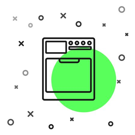 Black line Washer icon isolated on white background. Washing machine icon. Clothes washer - laundry machine. Home appliance symbol. Vector Illustration Ilustração