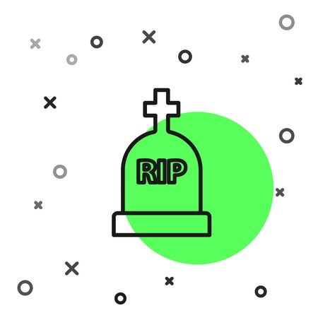 Black line Tombstone with RIP written on it icon isolated on white background. Grave icon. Vector Illustration 일러스트