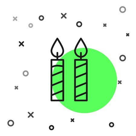 Black line Birthday cake candles icon isolated on white background.  Vector Illustration Foto de archivo - 134799683