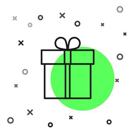 Black line Gift box icon isolated on white background.  Vector Illustration Foto de archivo - 134799521