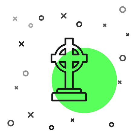 Black line Tombstone with cross icon isolated on white background. Grave icon. Vector Illustration