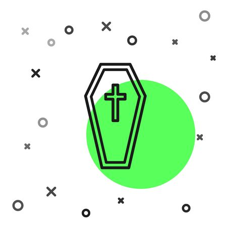 Black line Coffin with christian cross icon isolated on white background. Happy Halloween party. Vector Illustration