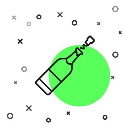 Black line Champagne bottle icon isolated on white background. Vector Illustration Foto de archivo - 134799426