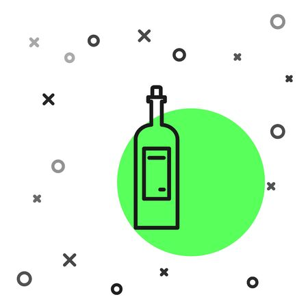 Black line Bottle of wine icon isolated on white background. Vector Illustration  イラスト・ベクター素材