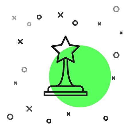 Black line Movie trophy icon isolated on white background. Academy award icon. Films and cinema symbol. Vector Illustration
