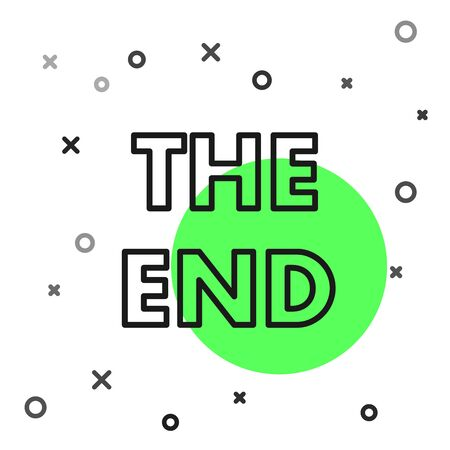 Black line The End handwritten inscription icon isolated on white background. Closing movie frame. Movie ending screen. Vector Illustration Illustration